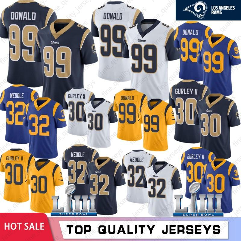 30 Todd Gurley Los Angeles maglie 99 Aaron Donald Ram 16 Jared Goff 32 Eric Weddle 2019 Super Bowl LIII calcio maglie cucito