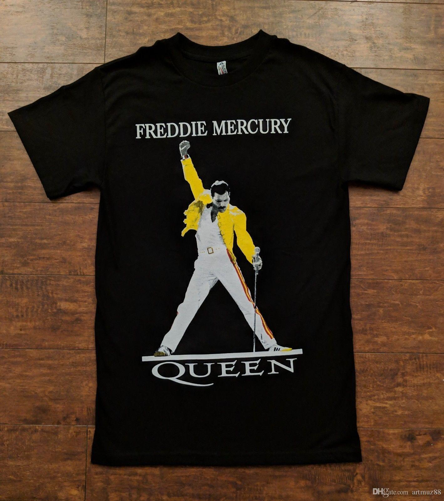 086a3162d QUEEN BAND FREDDIE MERCURY YELLOW JACKET LEGENDARY POSE Black TSHIRT K692 Shirts  T Shirts T Shirts And Shirts From Artmuz88, $10.76| DHgate.Com
