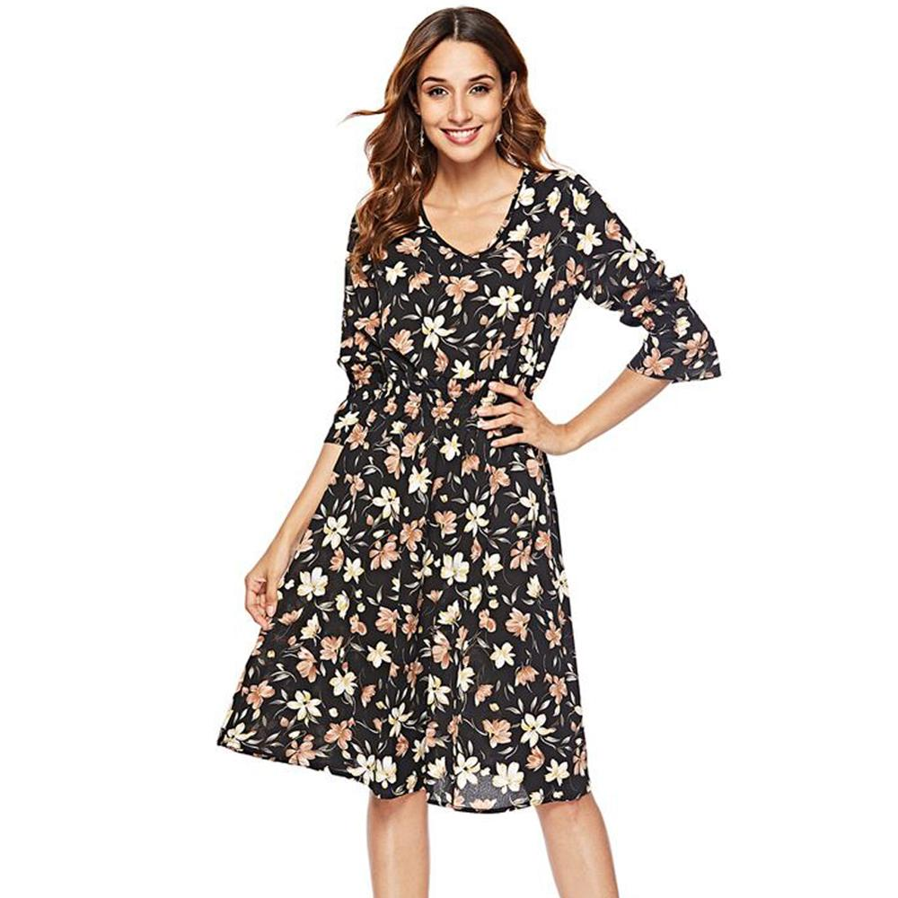 7bf692abfad Women Print Chiffon Dress Flare Sleeves Floral Dress V Neck Casual Summer A  Line Sundress Oversized Retro Elegant Office Dresses White Dress Skirt From  ...