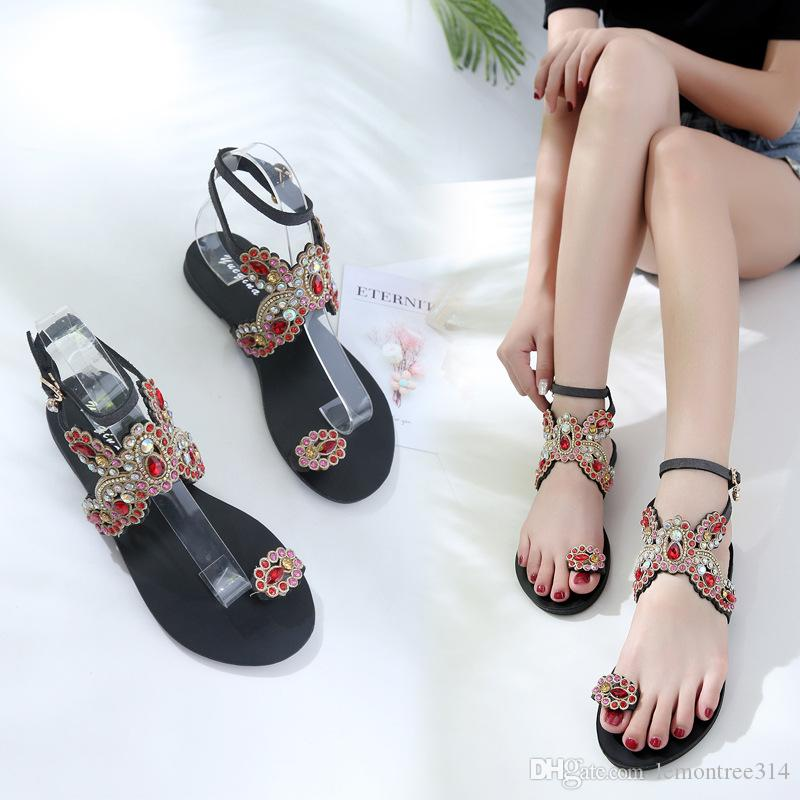 525f3f3cb51a Womens Bohemian Flat Sandals Rainbow Rhinestone Clip Toe Beach Sandal  Crystal Ankle Strap Roman Sandals Casual Shoes Nude Shoes High Heel Shoes  From ...
