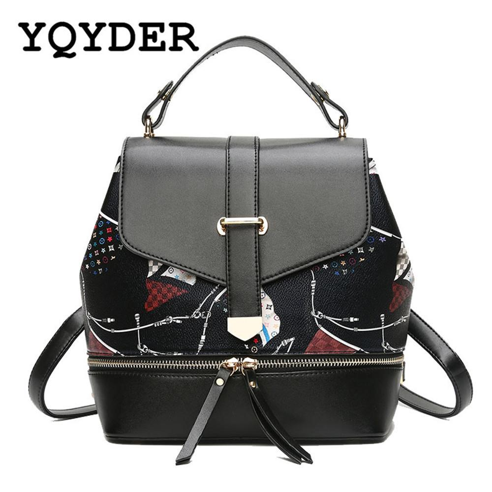 8b08d6f5c850 new printing pu leather backpack shoulder bag women small ...