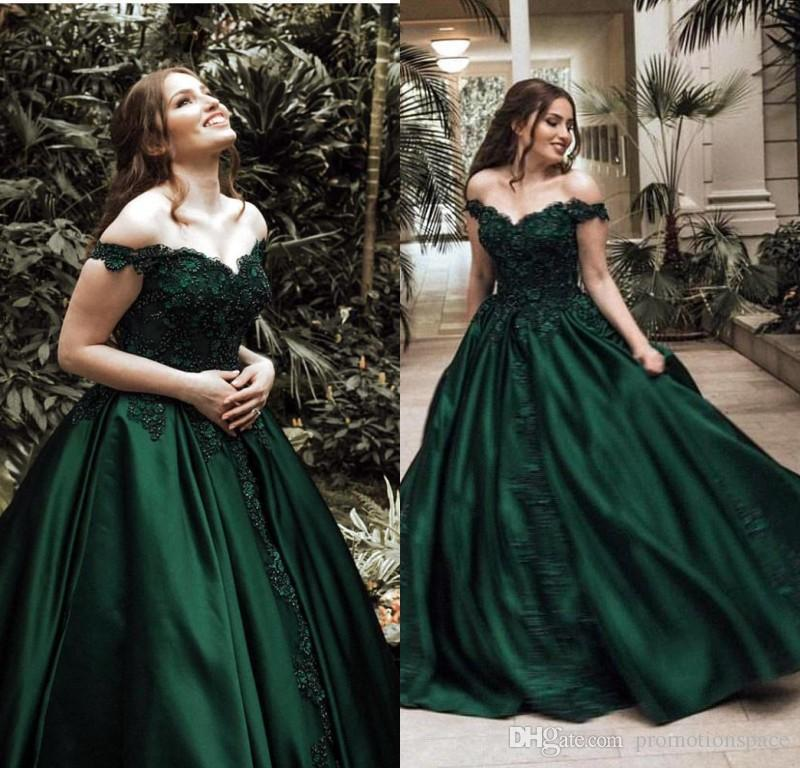 e358bbd63a6 Beautiful Dark Green Ball Gown Prom Dresses 2019 Off The Shoulder Satin  Floor Length Lace Evening Pageant Gowns BC0009 Prom Dress Sale Prom Dress  Shops In ...