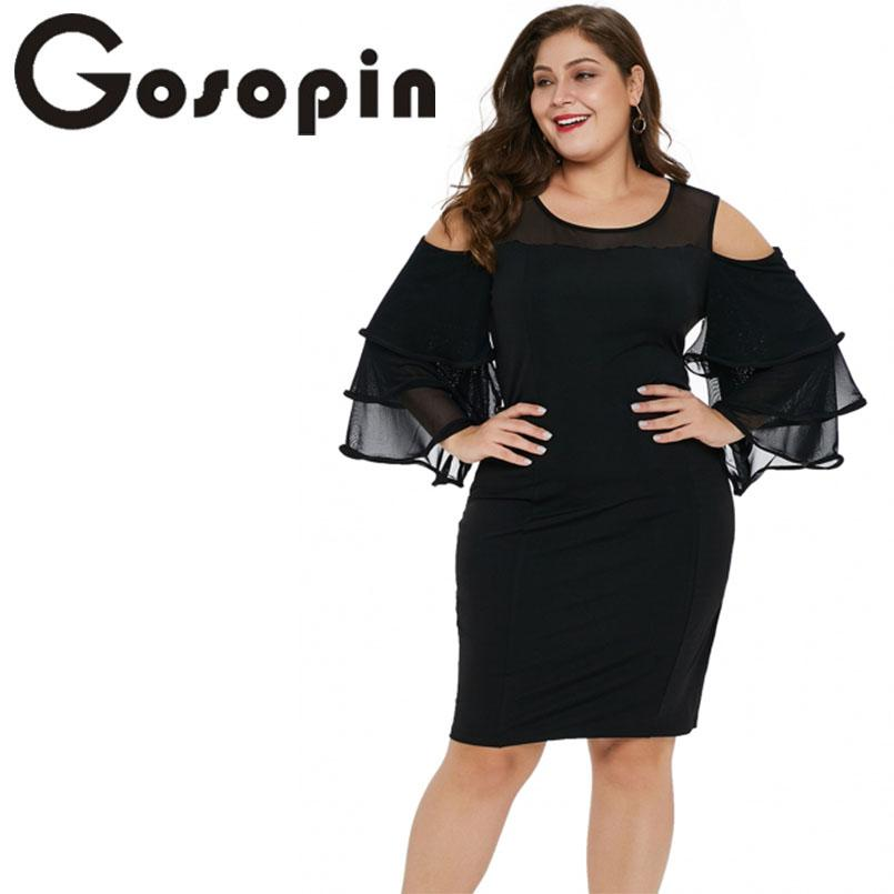 3b03508df2 Gosopin Cold Shoulder Summer Dress 2019 Plus Size Midi Sexy Party Dresses  Cascading Long Sleeve Ladies Office Dress LC220511 Cheap Yellow Dresses For  ...