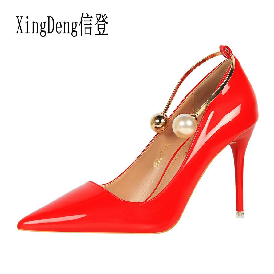 f915d917cf Dress Xingdeng Women Metal Ankle Strap Pearl High Heels Pumps Shoes Ladies  Shiny Patent Leather Wedding Party Dress Stilettos Shoes Shoe Boots Sexy  Shoes ...