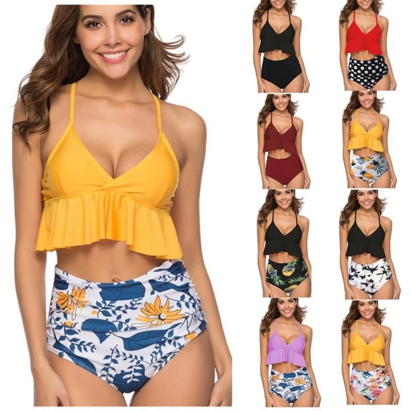 7b4302e384678 2019 Women Bikini Set Sexy Snake Print High Waist Bikinis Two Pieces 2019  Floral Ruffle Swimsuits Brazilian Swimwear Bathing Suit Women From ...