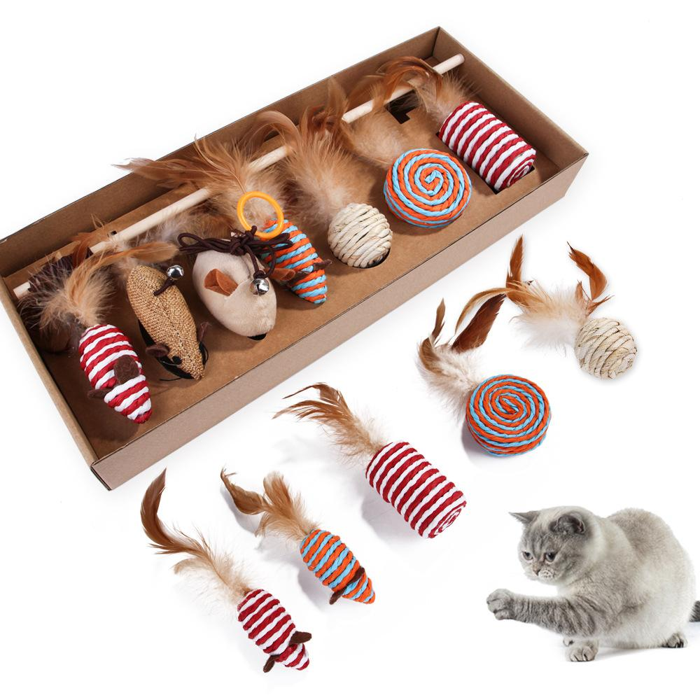 New Funny Cat Stick Set 7-piece Set Pet Cats Interactive Play Toy Simulation Mouse Molar Feather Pet Supplies Gift For Cat