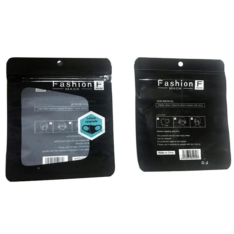 Mund Ice Waschbar Gesichtsmaske Einzelne Schwarz-Geschenk-Paket Antistaub PM2.5 Respirator Staubdichtes Antibakteriell wiederverwendbare Silk Taschen