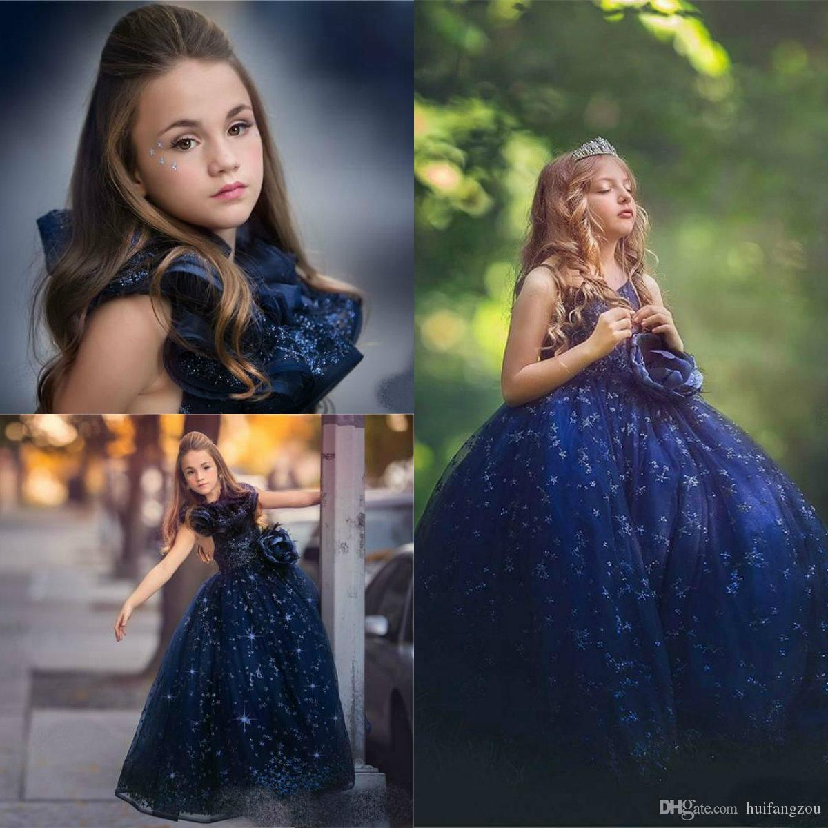 Luxury Royal Blue Girls Pageant Dresses 2019 Princess Ball Gown Sequins Ruffles Designer Flower Girl Dresses Kids Formal Prom Gowns