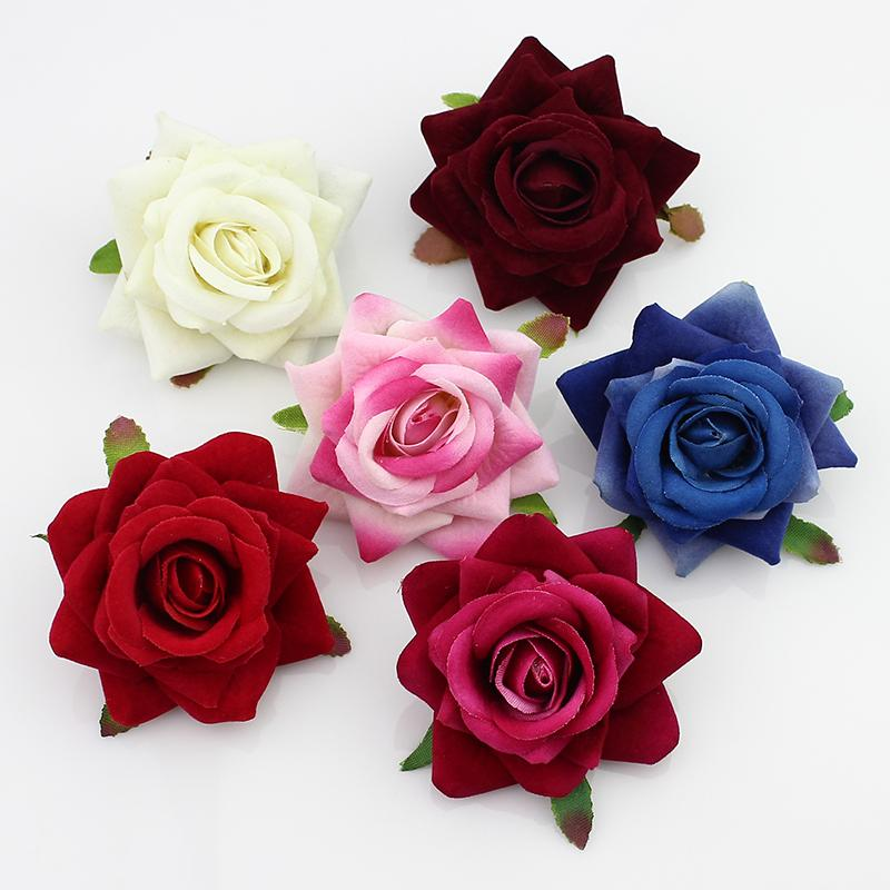 High Quality50pieces 6cm Silk Blooming Rose Artificial Flower Heads For Wedding /Hat /Wreath /Corsage Decoration Diy Scrapbooking Flowers