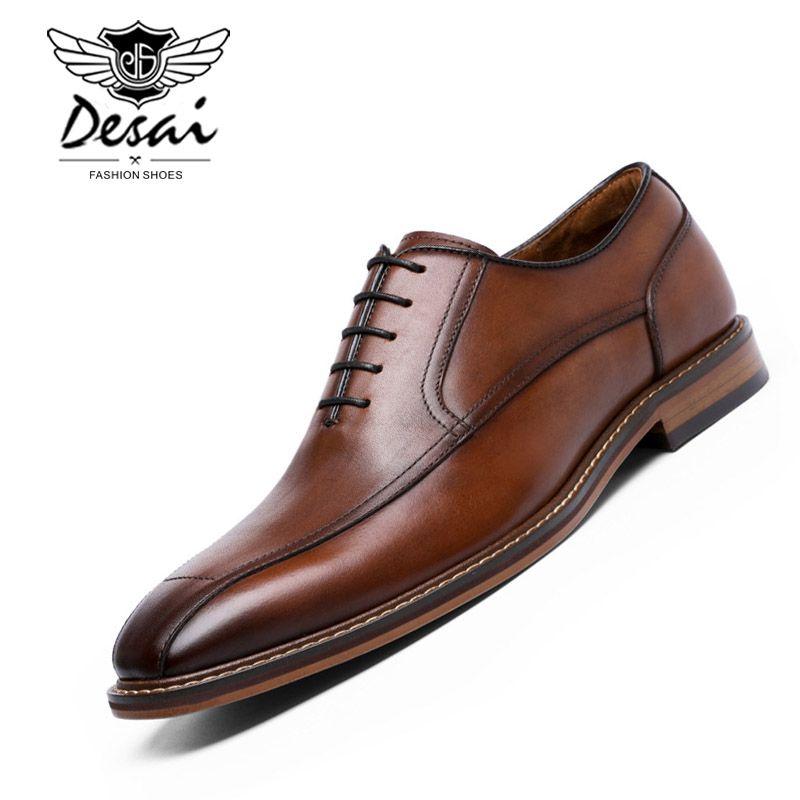 a4cfc66369 Compre DESAI Vestido De Negocios Zapatos De Hombre Cuero Genuino Estilo  Retro Zapatos Casuales Caballero Boda Moda Oxford Tamaño EUR 38 43 A  88.78  Del ...