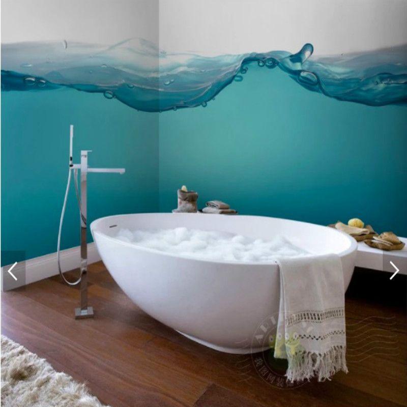 Mediterranean Style Blue Sea Spray Bathroom Background Waterproof