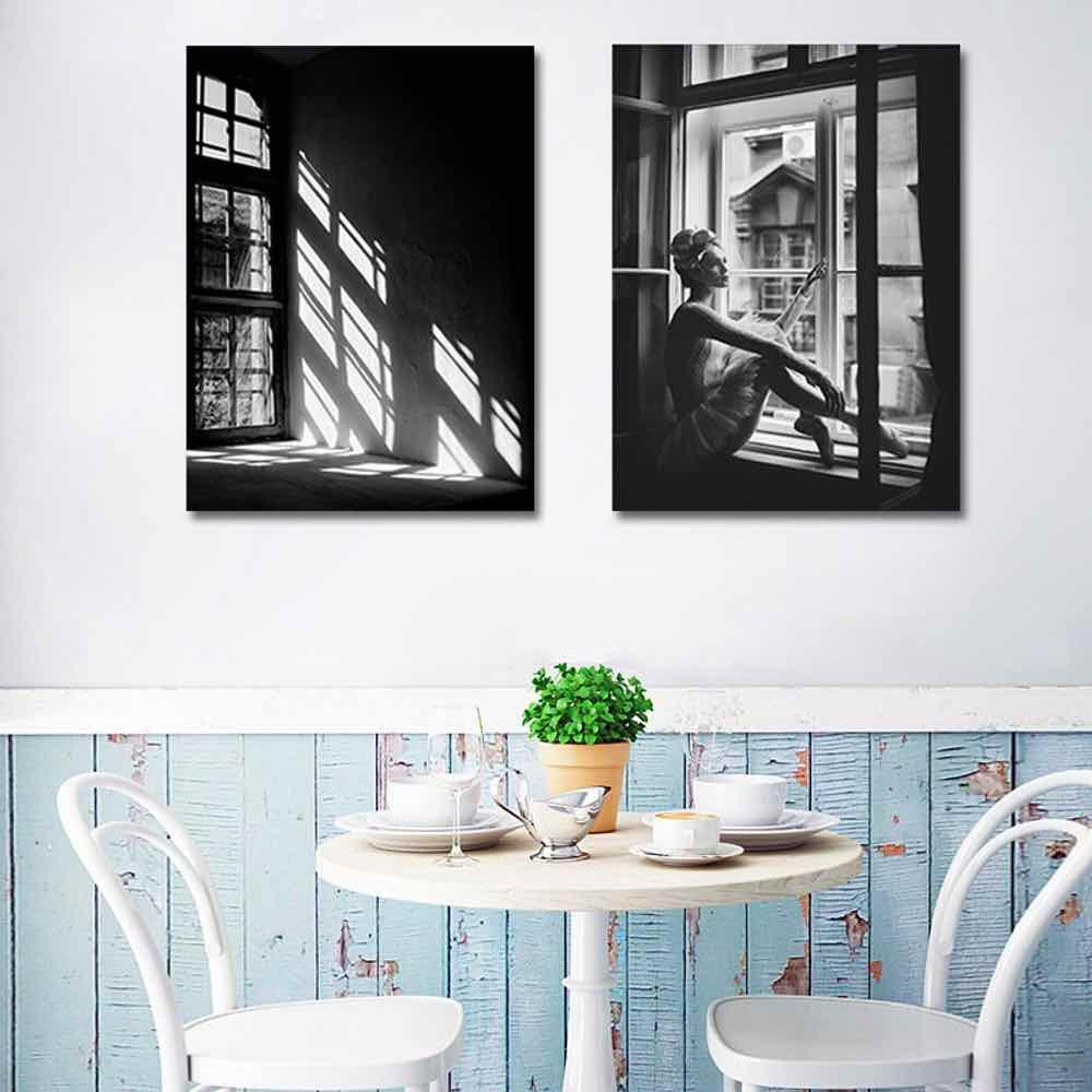 2019 haochu black and white photograph for living room home decor painting print poster simple nordic wall picture canvas painting from galry