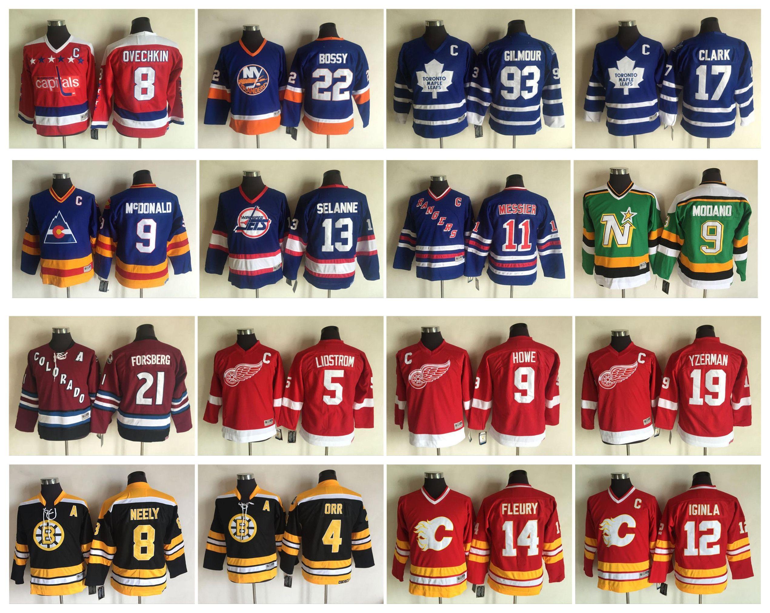 on sale 8002f 9952c Vintage Kids Hockey Jersey 8 Alexander Ovechkin 93 Doug Gilmour 17 Wendel  Clark 21 Peter Forsberg 9 Mike Modano 9 Gordie Howe Yzerman Youth