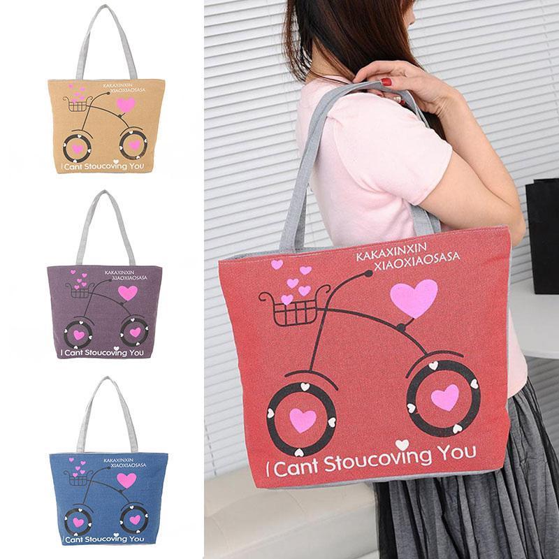 41fd9515f433 Cheap Fashion 2019 Love Bicycle Canvas Handbag Preppy School Bag for Girls  Women s Handbags Cute Bags AGD FA$B Women bag