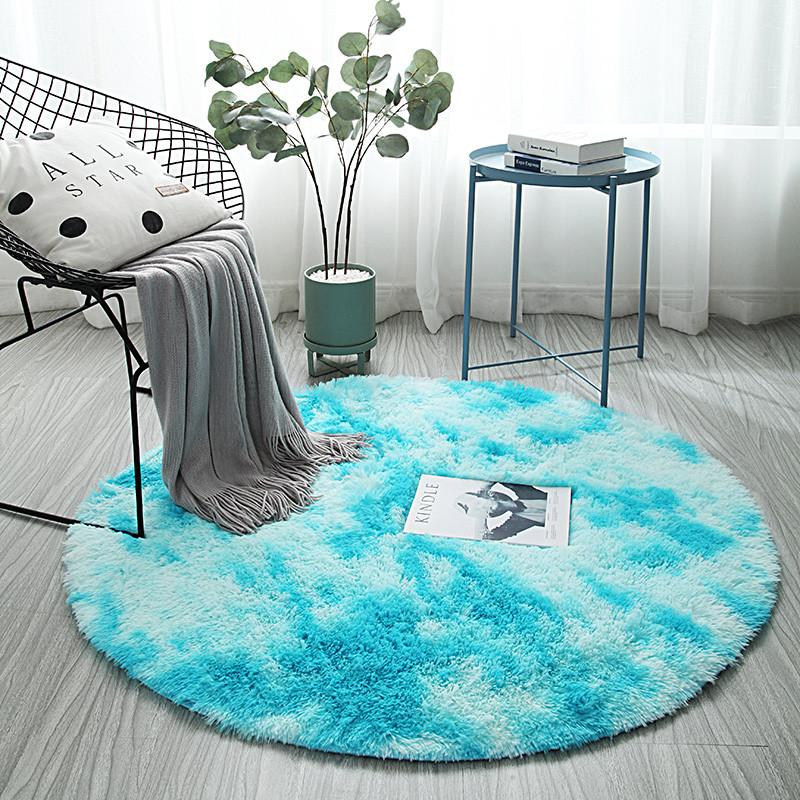 Nordic style sofa bedside carpet long hair tie-dye rug living room bedroom mat Round Thick plush variegated carpet