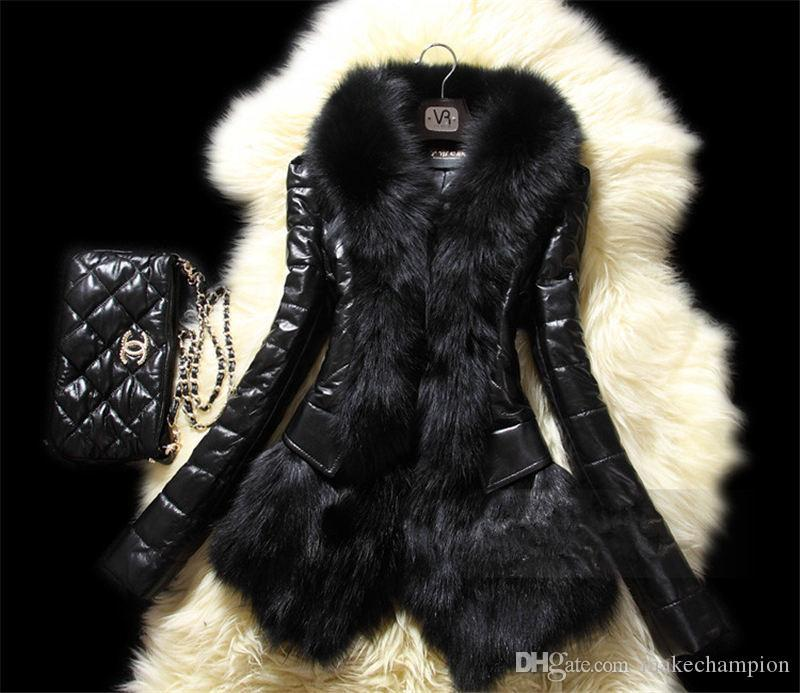 5XL Plus Size Womens Faux Fox Fur Black Long Sleeve Slim Womens Designer Winter Coats Casual Ladies Clothing