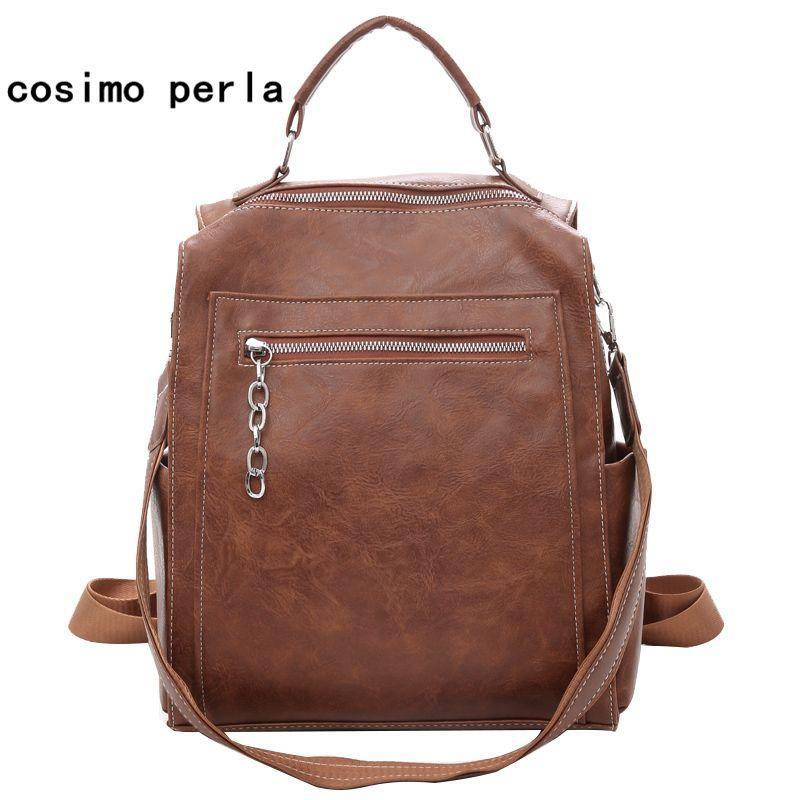 Vintage Women Leather Backpacks for Teenage Girls Large School Bags High  Quality Multifunction Backpack Escolares Shoulder Bag Backpacks Cheap  Backpacks ... 629a99318bd95