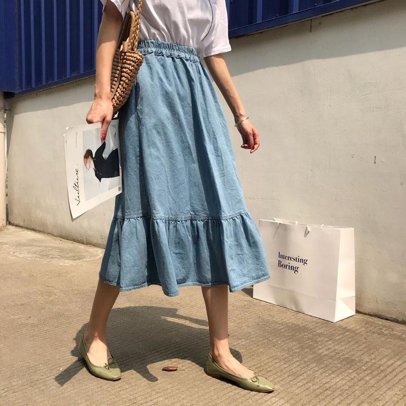 Kadın Moda Kore Katı Elastik Bel A-Line Denim Etek Pileli Etek Bayanlar Rahat Yüksek Bel Gevşek Büyük Hem Midi Artı Boyutu