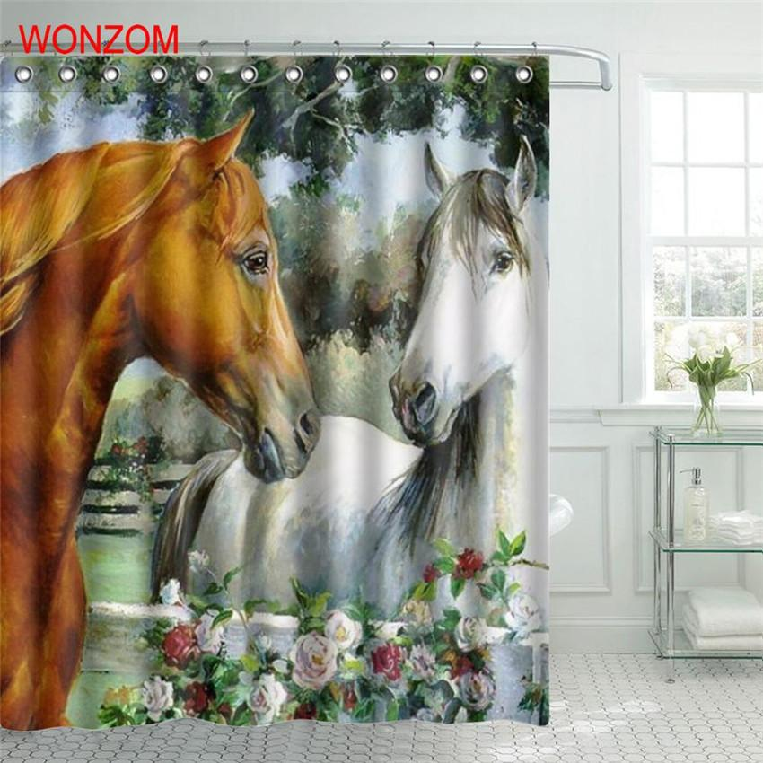 WONZOM Horse Polyester Fabric Shower Curtain Elephant Bathroom Decor Waterproof Animal Cortina De Bano With 12 Hooks Gift C18112201 UK 2019 From Mingjing03