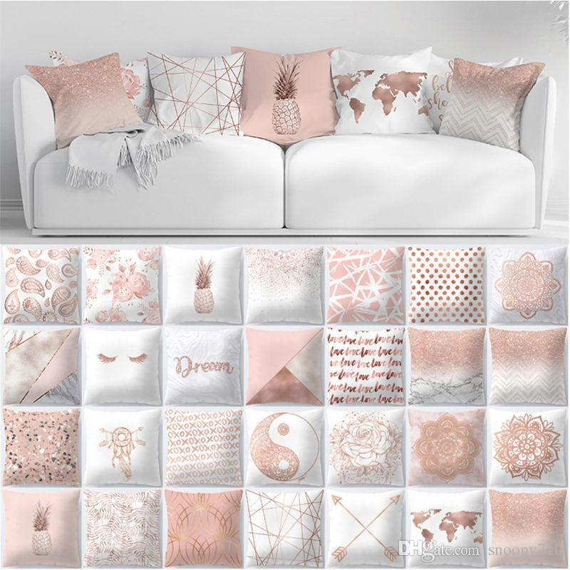 7902b631aac Lash Pillow Case Rose Gold Geometric Pineapple Glitter Polyester ...