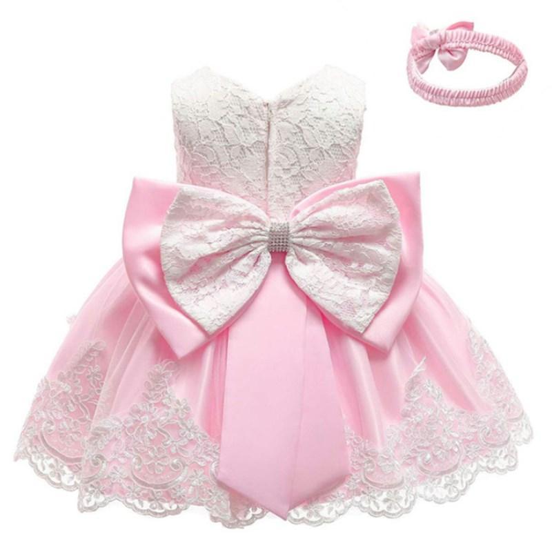 brand new 8c4d1 56463 Infant Vestidos Babykleidung Babykleid Spitze Bowknot Mädchen Ärmelloses  Kleid für Geburtstagsfeier Kleinkind Kostüm 3-24 Monate