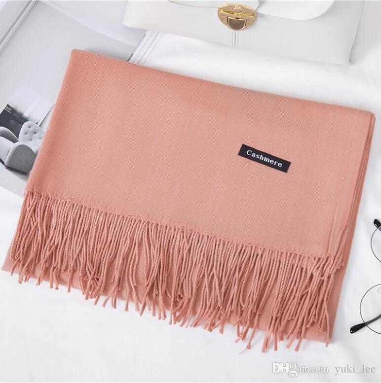 8bc727972 2018hoe sale 2019 free shipping Mixed Cashmere Solid color Shawl Wrap  Women's Plain Scarf Soft Fringes Solid Scarf Size:200*70cm