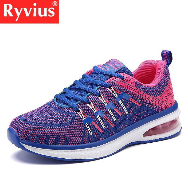Ryvius Brand 2018 Latest Spring And Autumn Outdoor Comfortable Sports Shoes Couple Ultra Light Flying Woven Mesh Running Shoes