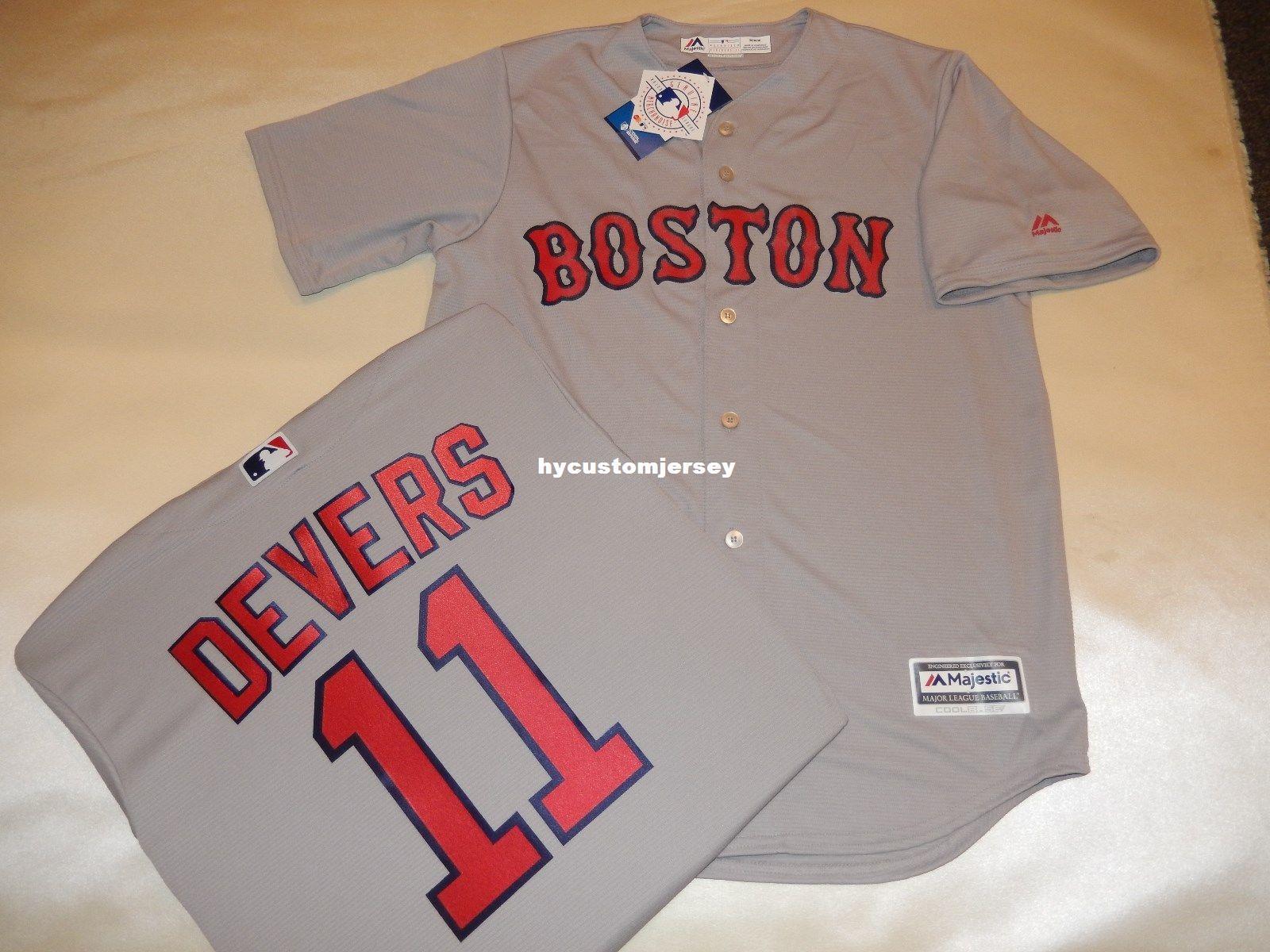 reputable site e9ca5 882f6 Cheap custom MAJESTIC Boston #11 RAFAEL DEVERS SEWN Cool Base Baseball  Jersey GRAY Mens stitched jerseys Big And Tall SIZE XS-6XL For sale