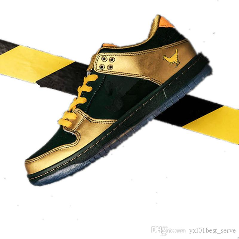 new styles eafbf e8771 2019 New SB Dunk Low DB Doernbecher beneficence Green gold Fashion Running  Shoes for Top quality Men Women Brand Sports Sneakers SIZE 36-45