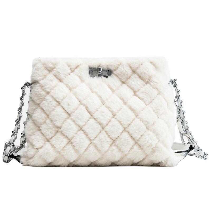 2019 Winter Fashion New Women S Designer Handbag Quality Soft Plush Women S  Shoulder Bag Lattice Chain Messenger Bags Crossbody Black Handbags Weekend  Bags ... 079b42c6784ee