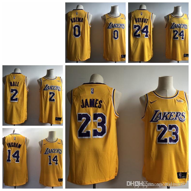 buy online c2f5d 30e72 2019 23 LeBron James Laker Jersey The City Los Angeles Kobe 24 Lonzo 2 Ball  Kyle 0 Kuzma Brandon 14 Ingram Basketball Jersey NEW Yellow blac