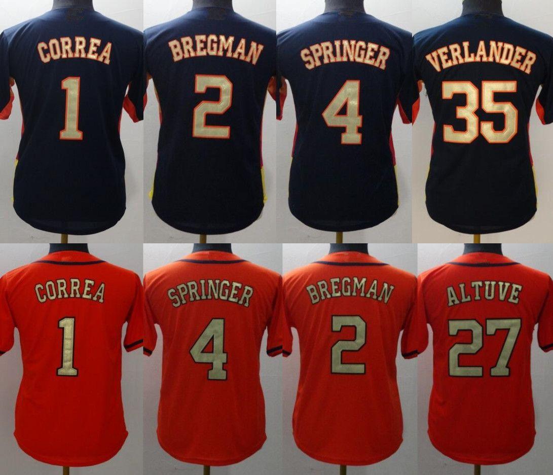 best website 6154a 95a8c Youth 1 Carlos Correa 2 Alex Bregman Jersey 1 Correa 2 Bregman 4 Springer  27 Jose Altuve 35 Verlander Jerseys Size: S-XL