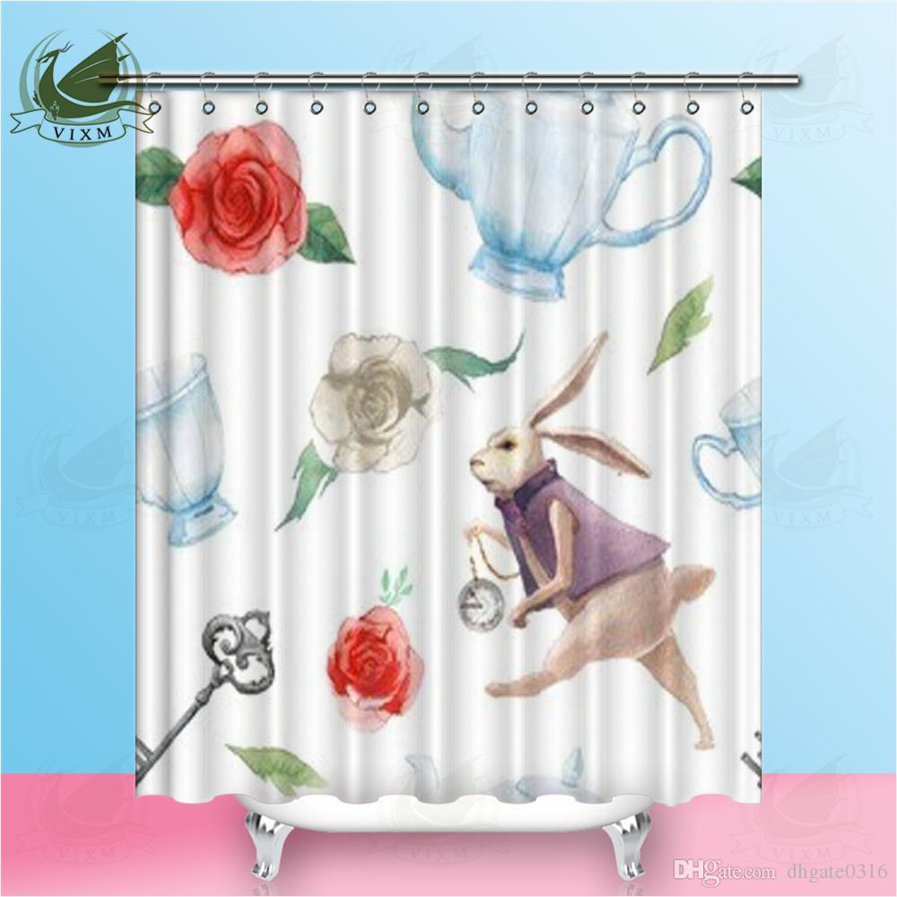 Vixm European Cartoon Rabbit Red Rose Flower Kettle Shower Curtains Halloween Creative Waterproof Polyester Fabric Curtains For Home Decor