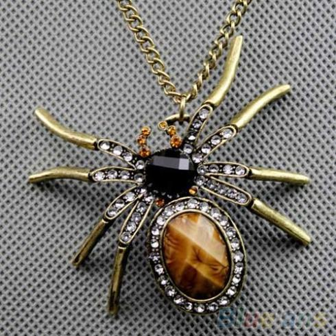 New Vintage Crystal Resin Spider Bead Collana Ciondolo Charm Charm a catena lunga 2KD3 7E9X 87VP