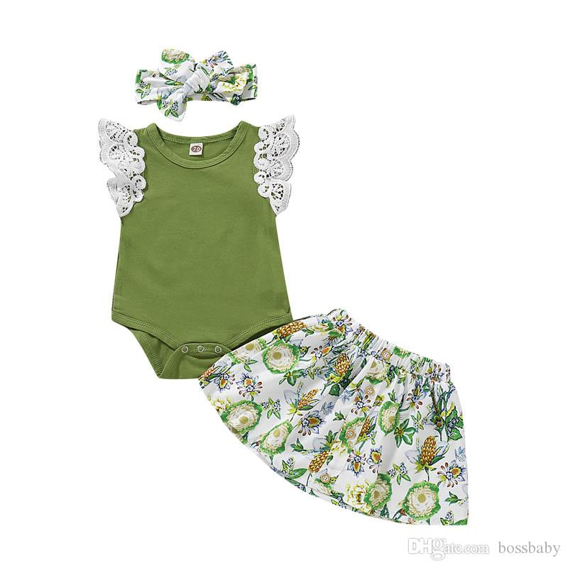 Baby Girl Clothes Set Kids Skirt Suit Summer Girl Lace Short-Sleeved Romper Shirt Floral Print Skirt 3 Piece Set With Headband