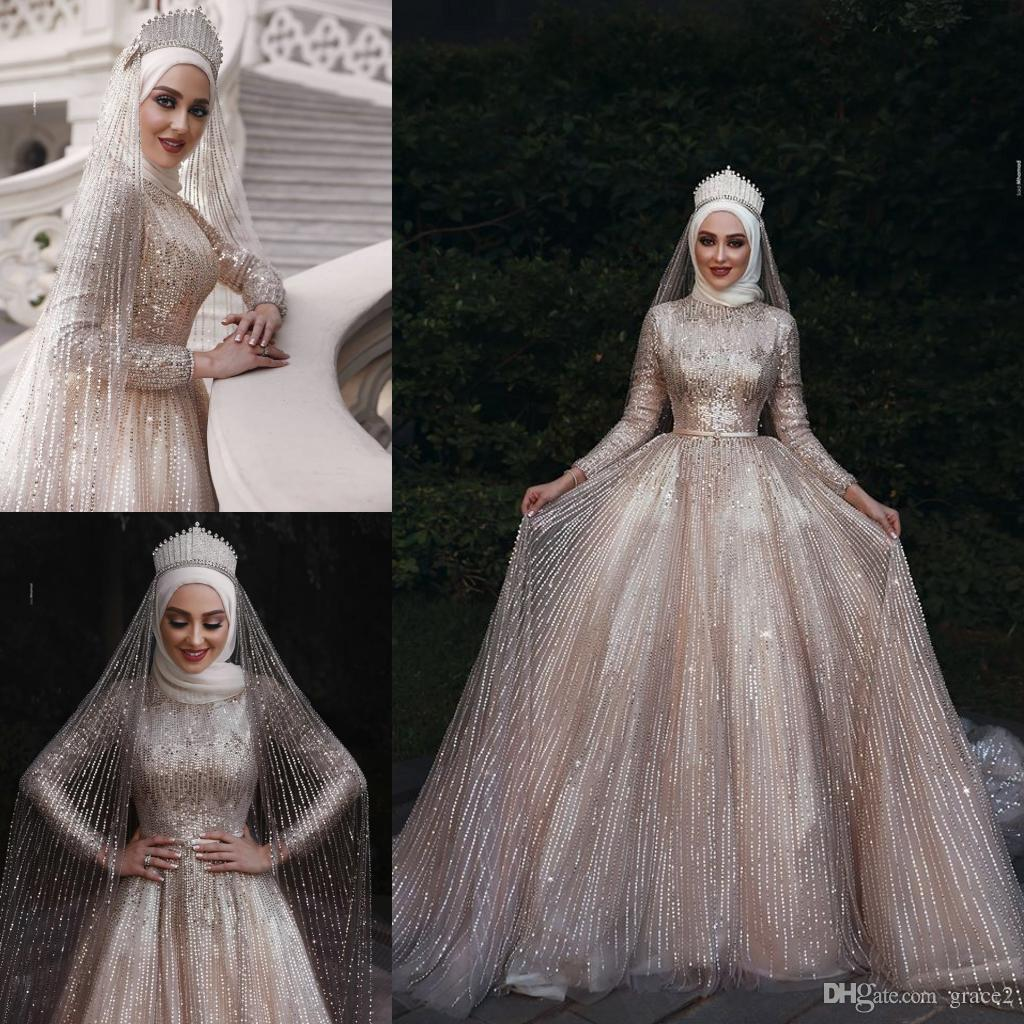 Discount Luxury Sparkle Muslim Wedding Dresses 2019 Long Sleeves High Neck  A Line Champagne Gold Sequins Bridal Gowns Cathedral Vestido De Noiva Slim  A Line ... 8f64fec274b4