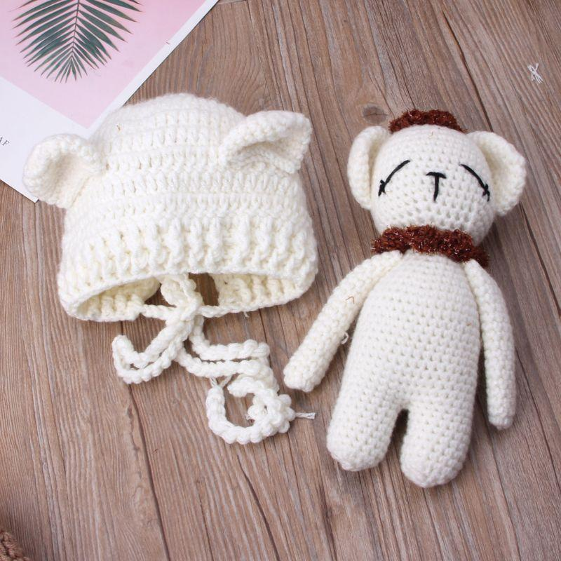 5ed1fb1faa7 2019 2019 Cute Newborn Baby Bear Hat Cap Girls Boys Knit Crochet ...