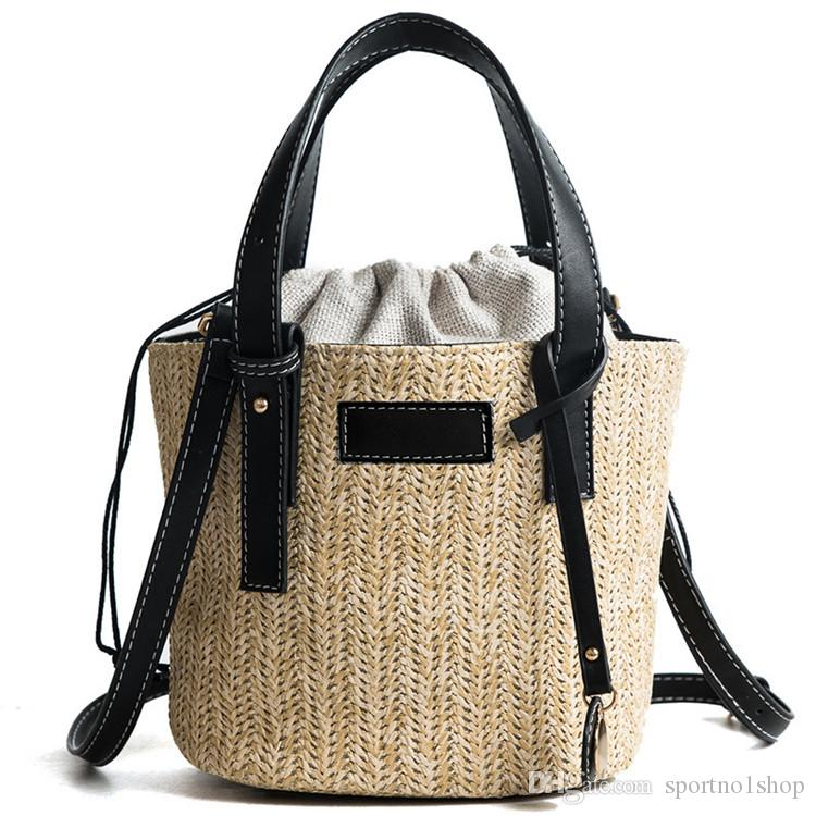 Hand Woven Beach Bag Canvas Totes Straw Bucket Summer Bags Women Lady Handle Handbag Knitting Strap Shoulder Cross body bags 2 colors