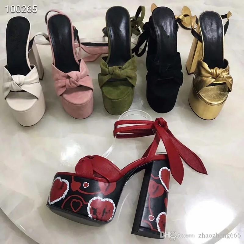 2019 New Classic Sandals Lady Summer bowknot Sandals large size Leather sexy high-heeled women's shoes 14cm
