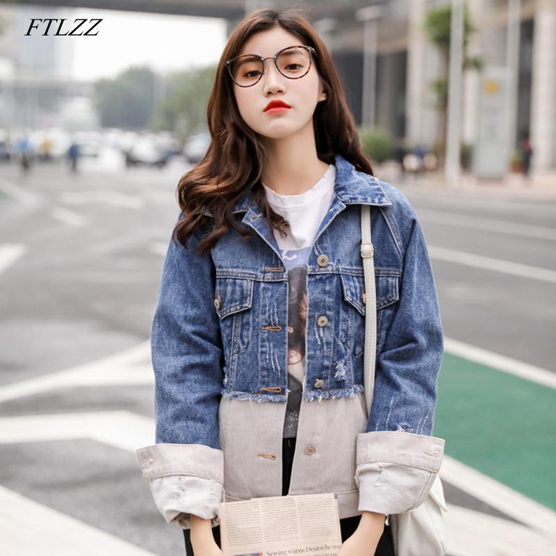 9ad8217523 Compre Ftlzz 2019 Outono Vintage Jaqueta Jeans Mulheres Coreano Magro  Buraco Quebrado Patchwork Jeans Casacos Casuais Jaqueta Feminina De Bida  Josh, ...