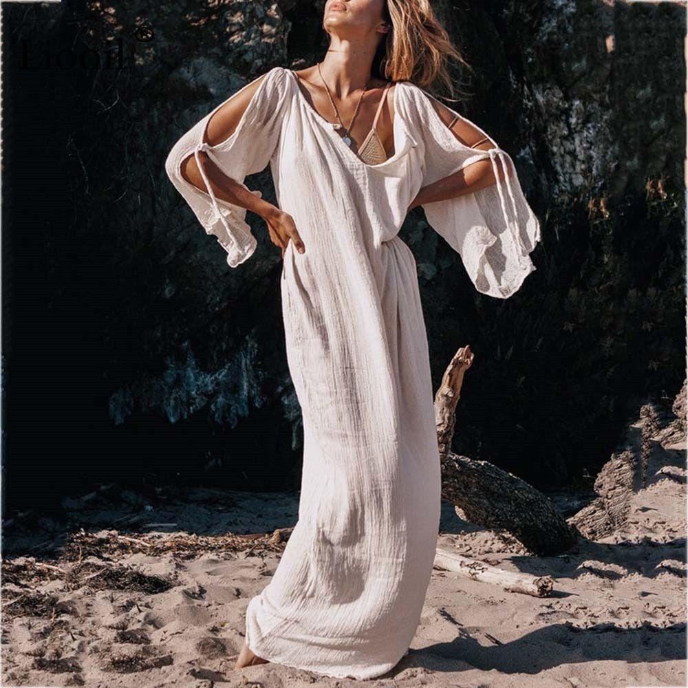 c92c714ba3 Liooil Boho Casual Maxi Dress Women 2019 Summer Lace Up Beach Loose White  Blue Dress Long Sleeve O Neck Party Sexy Long Dresses Long Dresses Women  Summer ...