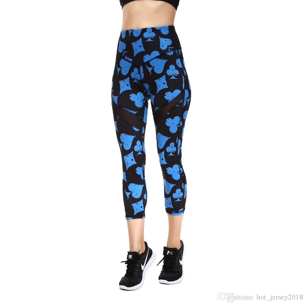 736ffd4213c19 2019 JIGERJOGER 2018 Spring Summer Mid High Rise Printed Capris With Mesh  Insets Crops Running Printed Capris Yoga Shorts Leggings #301209 From ...