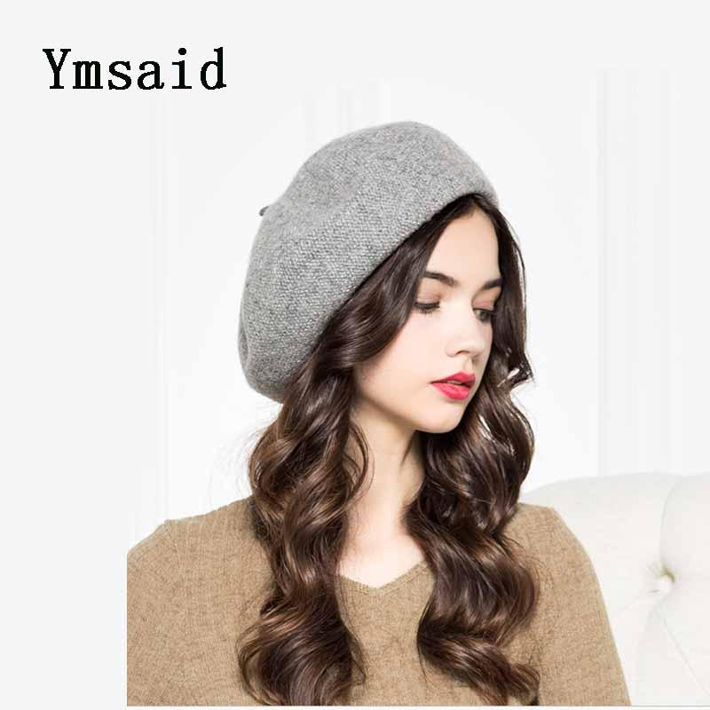 Ymsaid 2018 New Hot Fashion Female Casual Classic Solid Color Simple Caps  Hats Women Autumn Winter Woolen Painter Cap Berets S18120302 Beanie Boo  Trucker ... f52b02dfbd72