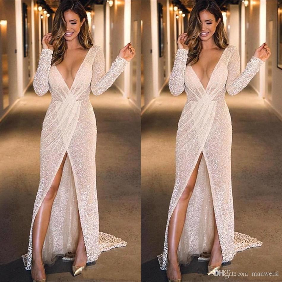 Vestidos De Gala Sexy Glitter V Neck Prom Dresses 2020 Long Sleeve High Split Formal Party Evening Gowns Gala Jurken