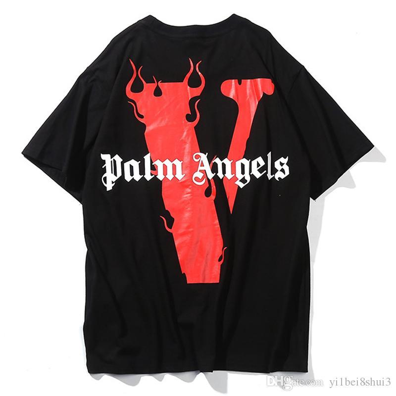 f1a6c094 Vlone X Palm Angels T Shirt Men Women T Shirt Harajuku Tshirt Hip Hop  Streetwear Brand Summer Cotton Clothing Printing Tees Tops Causul 2019  Irish T Shirts ...