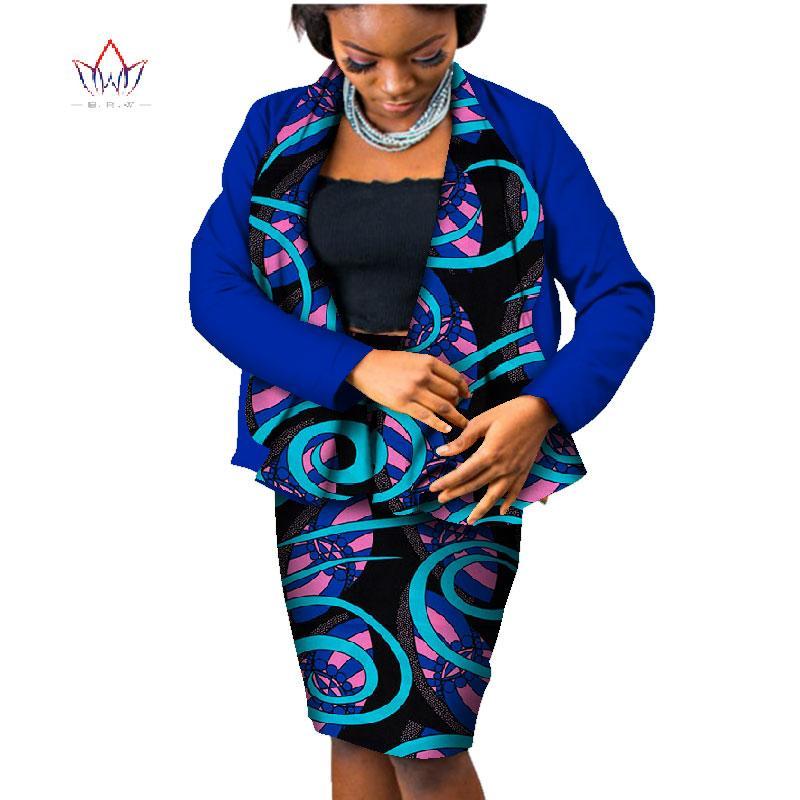 6a3ab10a8287 Trajes de falda africana de verano Dashiki para mujer elegante conjunto de  falda de dama Bazin Riche conjunto de algodón más el tamaño dos piezas ...
