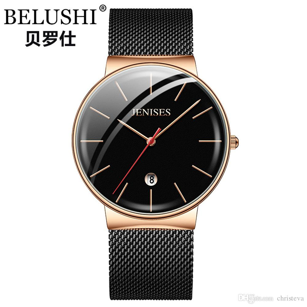 410a86e37f6c Compre JENISES Reloj Hombre Nuevo Modelo Reloj De Pulsera De Cuarzo Hombres  Banda De Malla De Acero Relojes Impermeables Para Hombres Reloj De Hombre  De ...