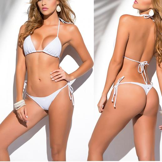 1328bc99318 Solid White Classic Thong Bikini Women s Swimwear Summer Beach String  Bikinis Sexy Female Bathing Suit Multi Color Swimsuit 1667