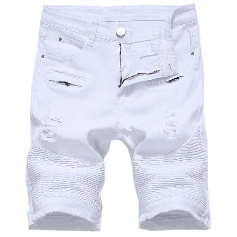2019 QMGOOD Summer Ripped Jeans For Men Knee Length Denim Shorts Men ... 6d22463a528