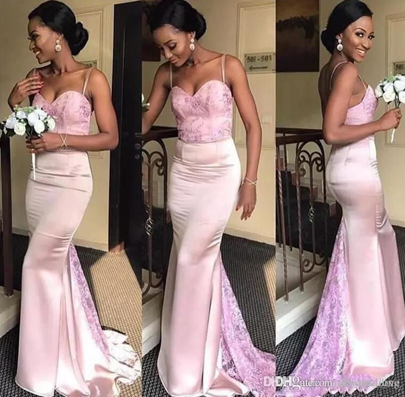2019 African Nigerian Bridesmaid Dress Pink Mermaid Country Garden Formal Wedding Party Guest Maid of Honor Gown Plus Size Custom Made